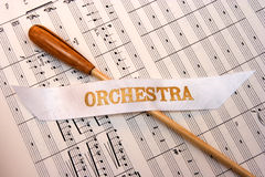 Baton on top of orchestral score